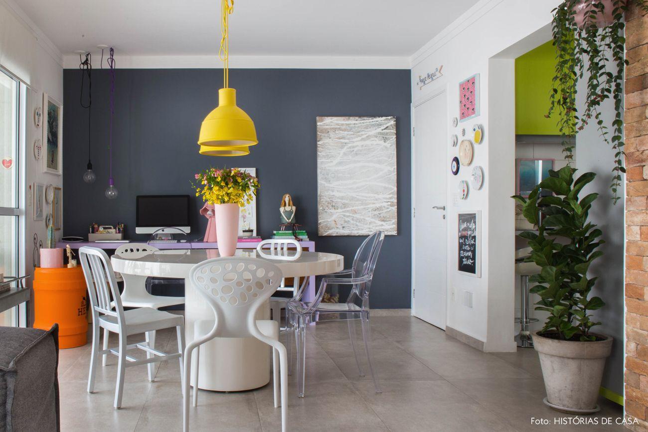 Ap Colorido Com Sala Integrada Paredes Pintadas De Cinza  -> Sala Branca Com Parede Colorida