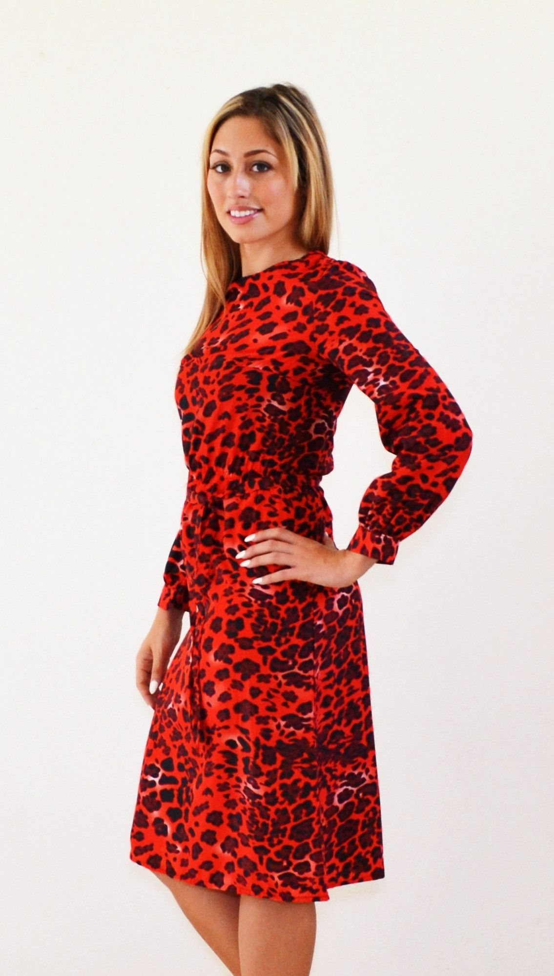 Dare red leopard midi modest dress modest dresses