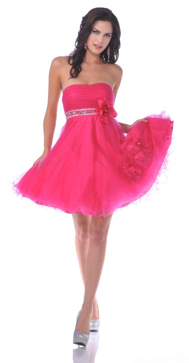 CLEARANCE - Hot Pink Short Party Dress With Rhinestone Waist (Size ...