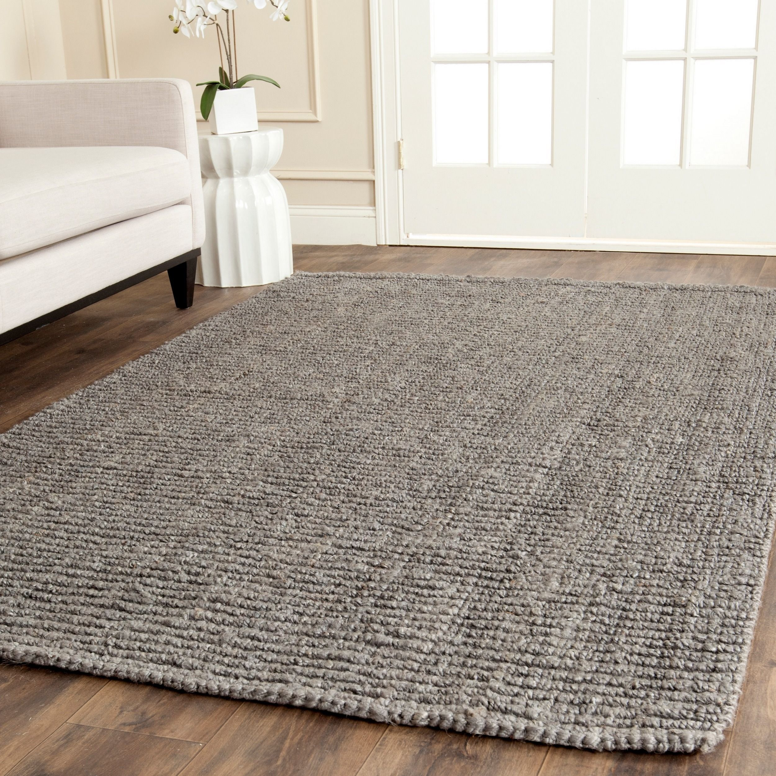 Safavieh Casual Natural Fiber Hand Woven Light Grey Chunky Thick Jute Rug 6 Square