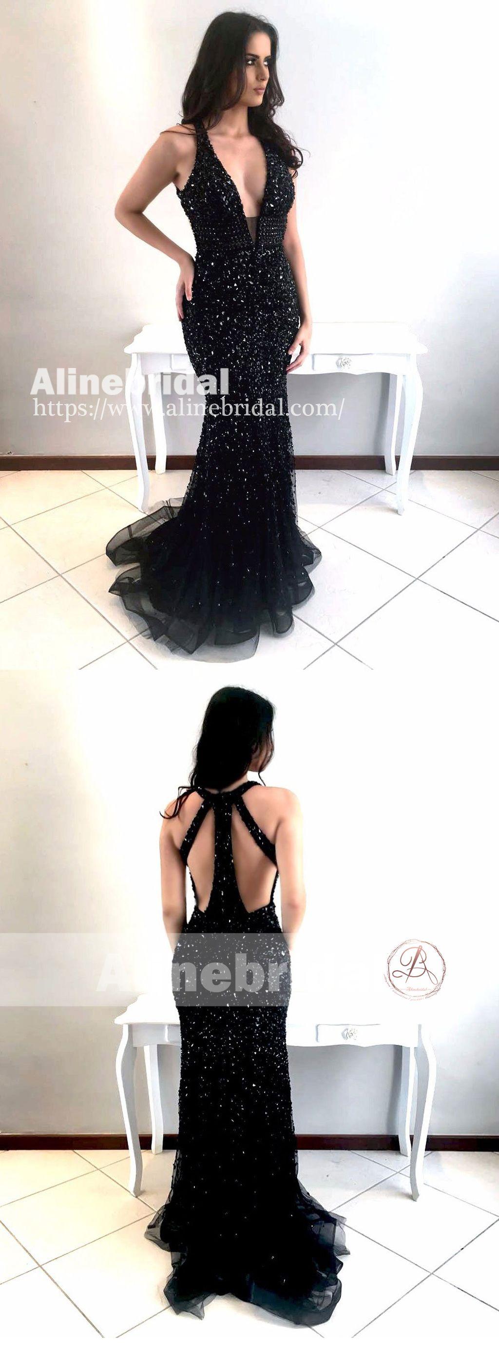 Affordable black sparkly rhinestone mermaid unique prom dresses