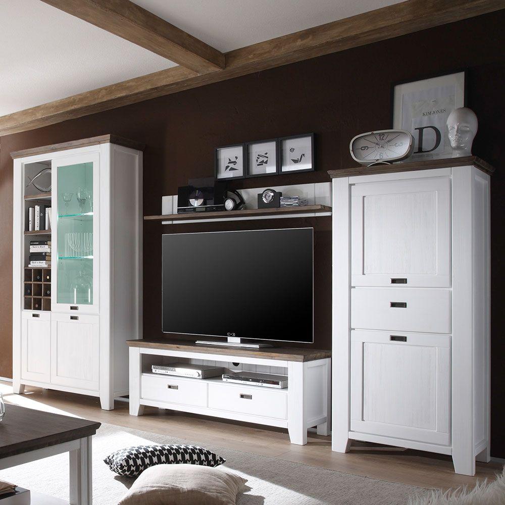 Wohnzimmer Anbauwand In Weiß Braun Landhausstil (4 Teilig)  Wohnzimmerschrank,schrankwand,wohnwand
