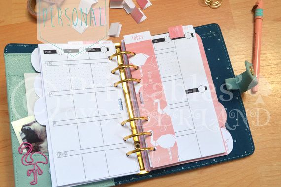 Personal planner kit flamingo - Kit organiseur personal flamant rose