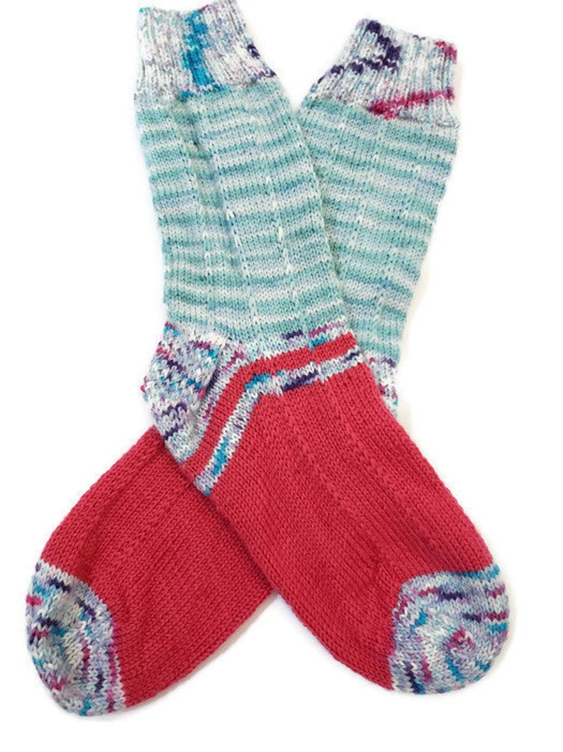 Hand Knit Socks in Various Blues Womens