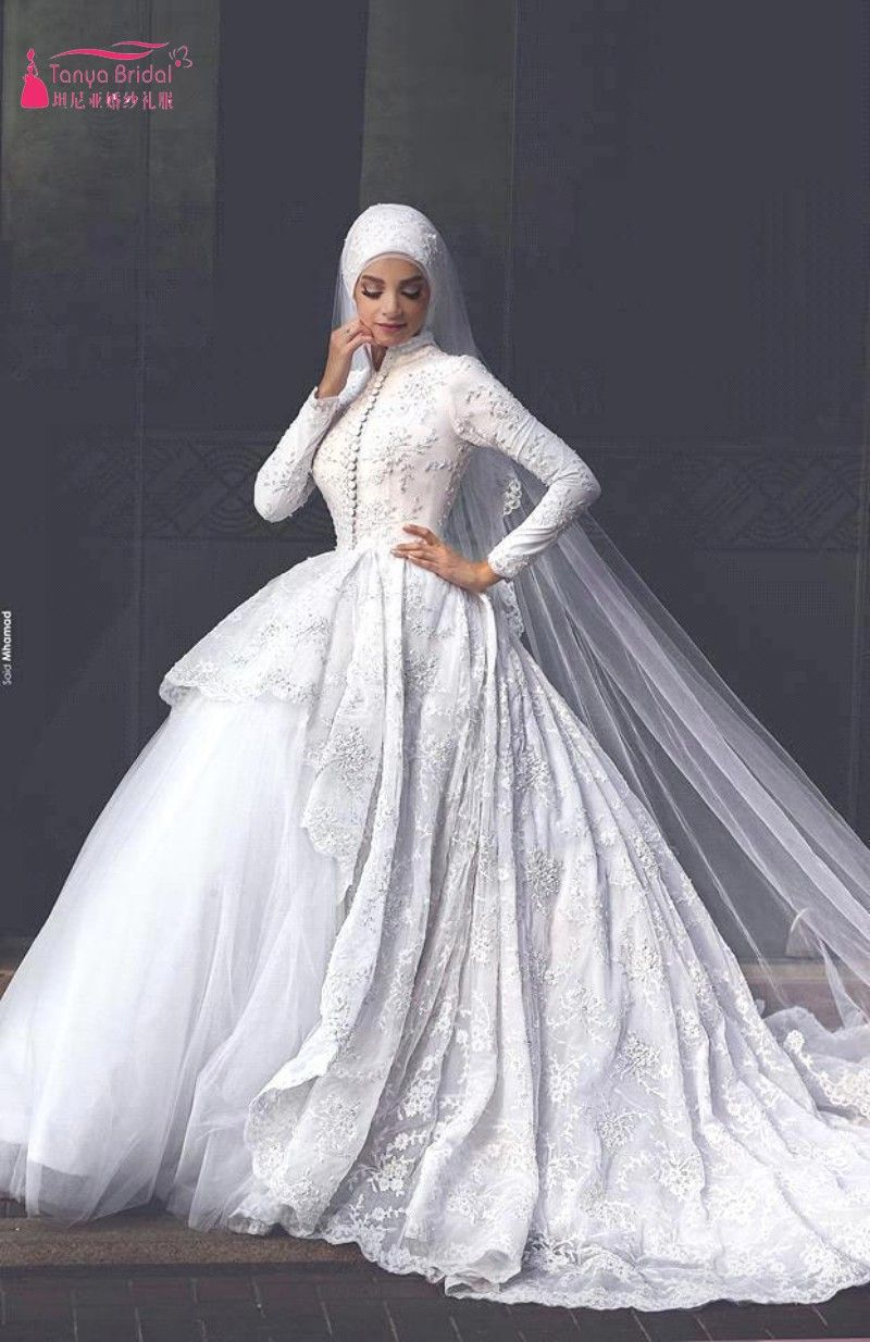 Find More Wedding Dresses Information About Muslim 2017 New Style Long Sleeves Arabic High