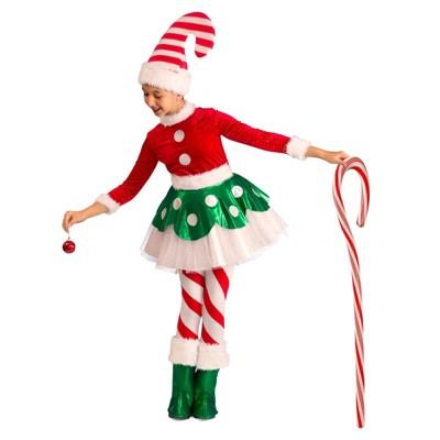Kids Candy Cane Elf Princess Halloween Costume Xs Christmas Elf Costume Princess Halloween Costume Elf Costume