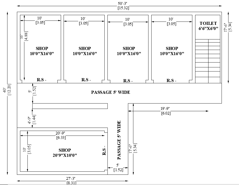 50 X 40 Commercial Shop Building Floor Plan Is Given In This Autocad Dwg File Download 2d Autocad Drawing Dwg And Pdf File Floor Plans Shop Buildings Autocad