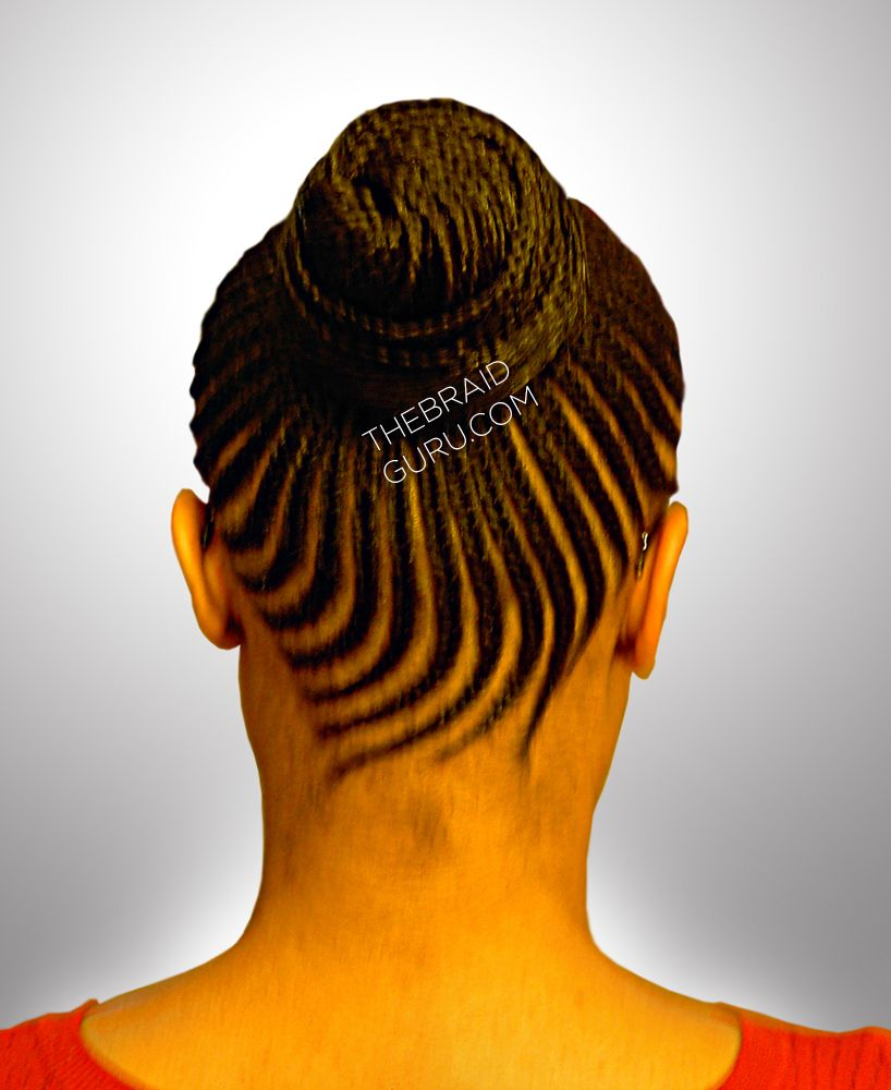 Feed-In Cornrow Bun - Back View Braids by Thebraidguru.com