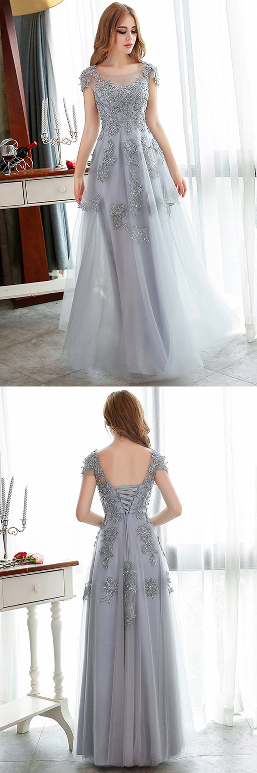 Lace prom dresses long silver party dresses aline grey