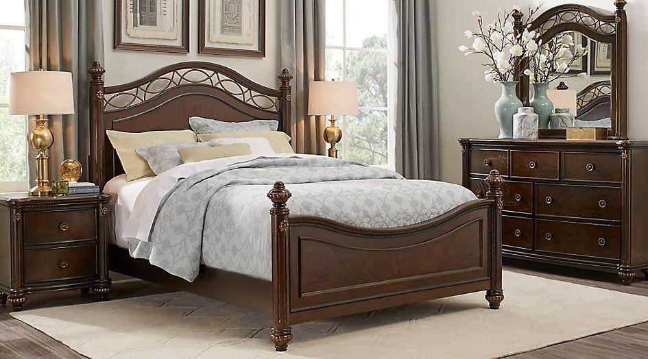 Laurel View Cherry 7 Pc Queen Poster Bedroom   Queen Bedroom Sets Dark Wood  Roomstogo