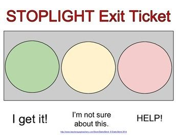 Formative Assessment Stoplight Exit Ticket  Formative Assessment