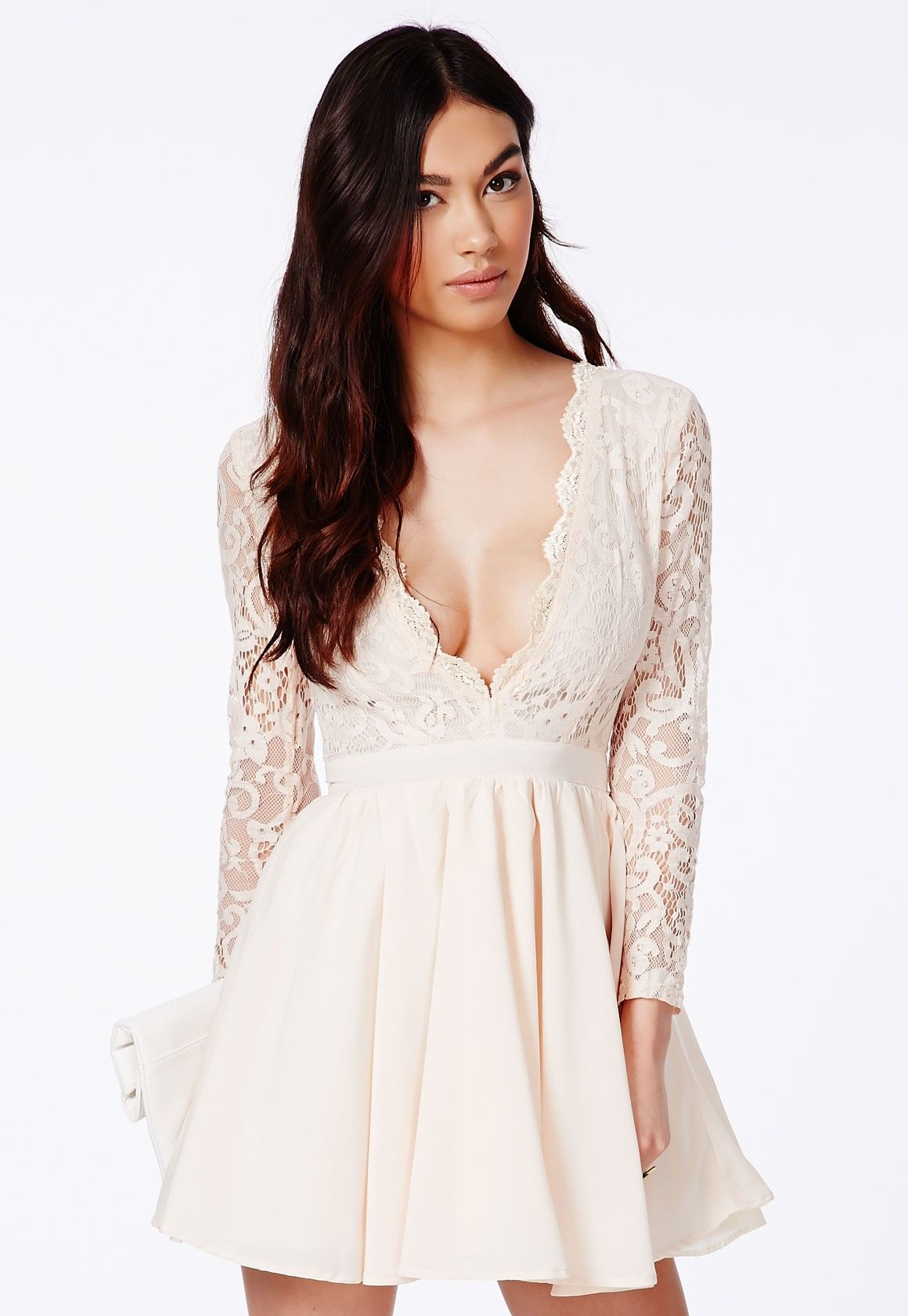 b425f6f69d9d Dayana Lace Sleeve Puff Ball Dress - Dresses - Skater Dresses - Missguided