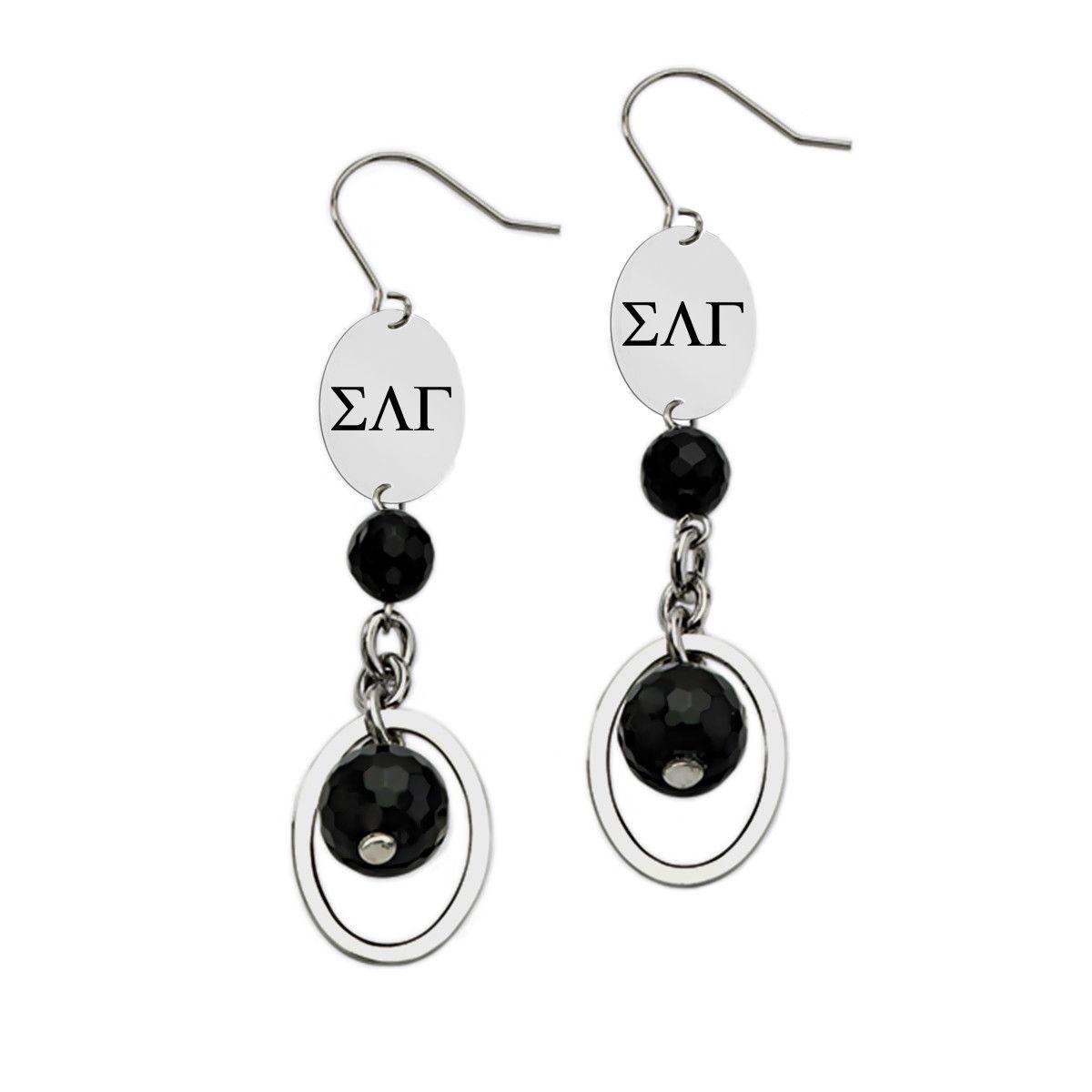 Sigma lambda gamma greek letters black drop stainless steel earrings sigma lambda gamma greek letters black drop stainless steel earrings buycottarizona Gallery
