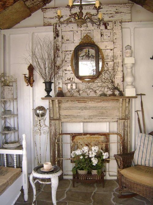 Mock Fireplace/ Mantel . Homey! | Country Vintage Decor | Pinterest | Fireplace  Mantel, Mantels And Shabby