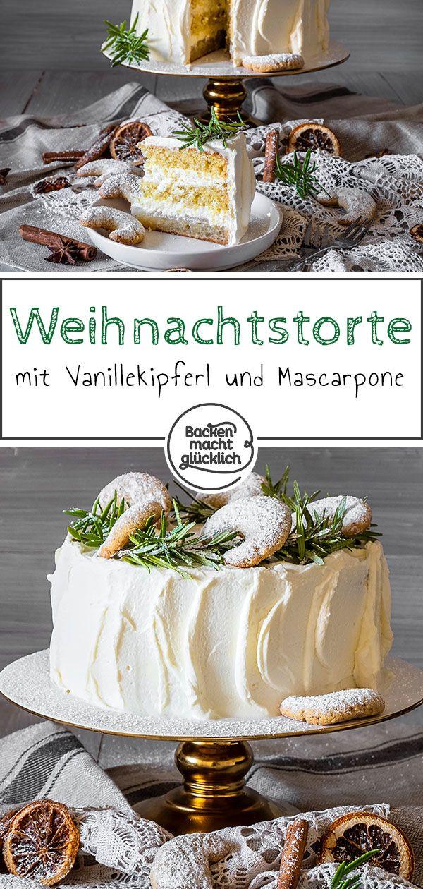 Weihnachtliche Vanillekipferl-Torte mit Mascarpone-Sahne #foodanddrink
