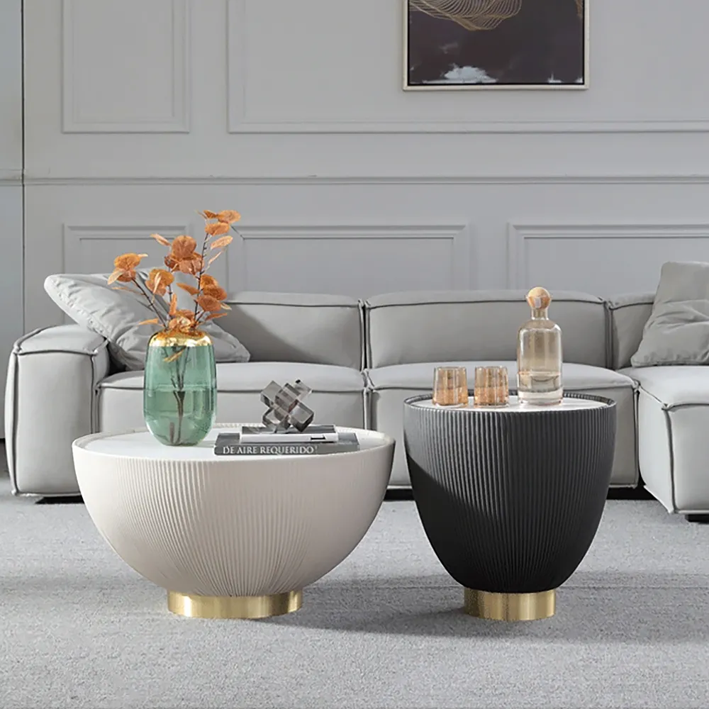 Gray Drum Coffee Table Stone Round Pu Leather Accent Table In Gold In 2021 Drum Coffee Table Round Gold Coffee Table Round Drum Coffee Table [ png ]