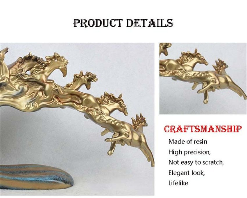 Six Mighty Golden Horses Statue Home Decor In 2019