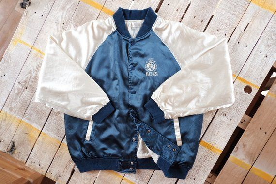 Vintage Suntory Boss Coffee varsity jacket, Boss coffee windbreaker jacket, Big logo band (size L) #bosscoffee Vintage Suntory Boss Coffee varsity jacket, Boss coffee windbreaker jacket, Big logo band (size L) #bosscoffee