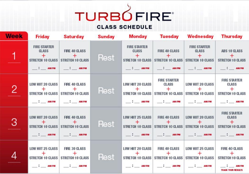turbo fire pre workout schedule | Turbo Fire Calendar ...