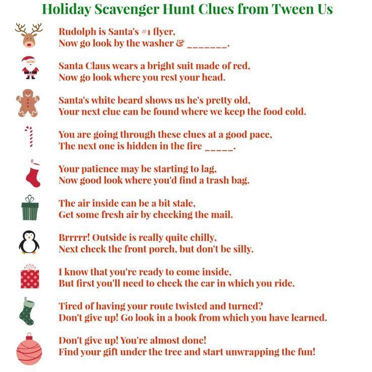 Christmas Scavenger Hunt Clues.Printable Holiday Scavenger Hunt Clues Make Present Finding