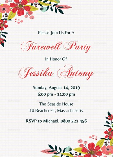 Classic Farewell Party Invitation Design Party Invite Template Farewell Party Invitations Farewell Invitation Card