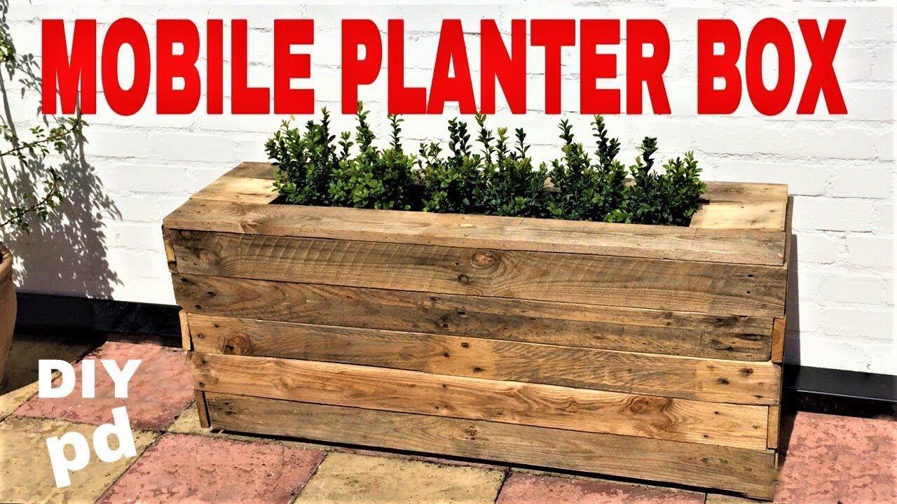 Mobile Pallet Planter Box Decorative Garden Rolling 400 x 300