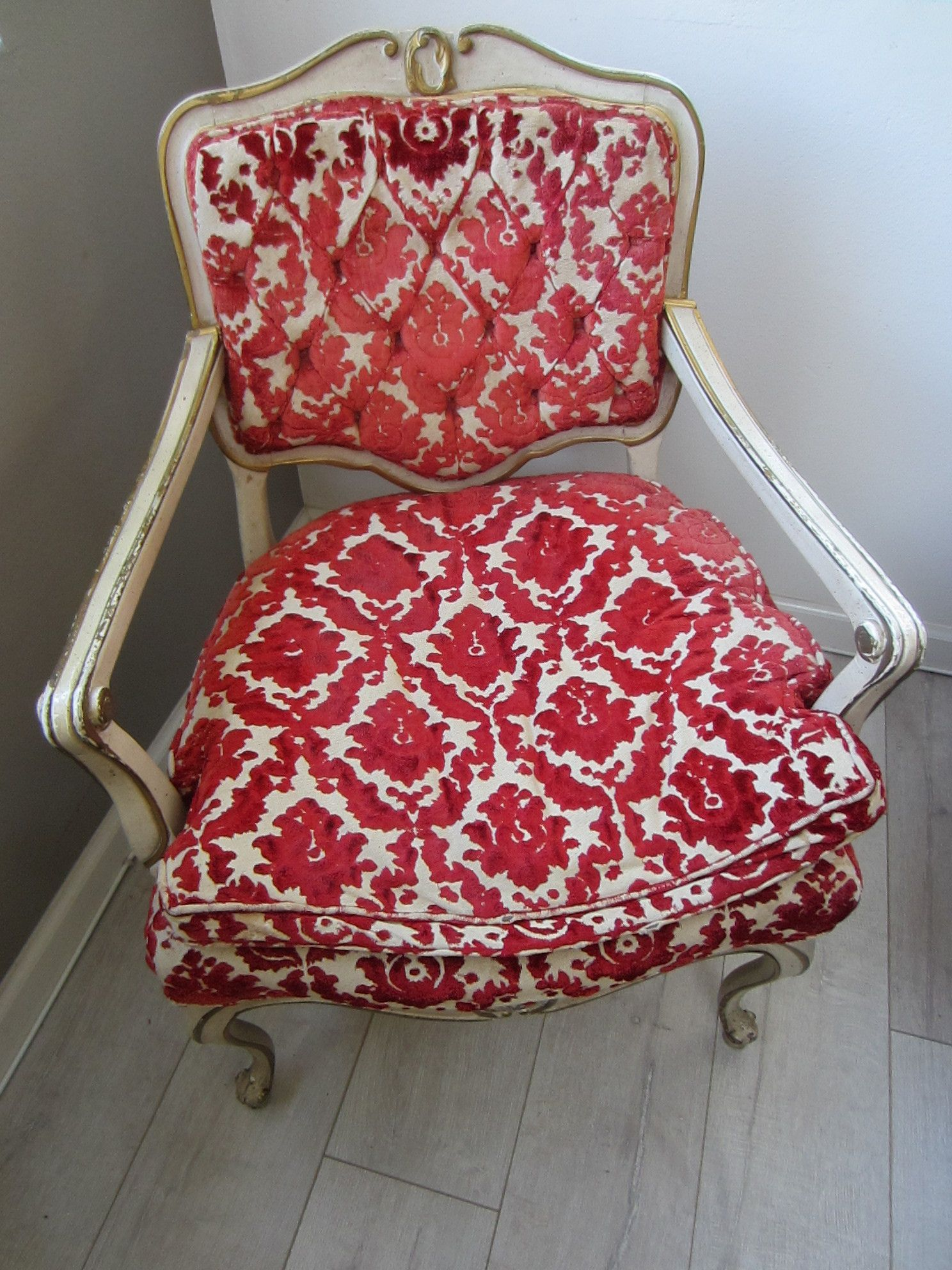 French Hibriten Arm Chair Floral Fabric Gilt Decoration Vintage Chairs Blue Velvet Dining Chairs Armchair