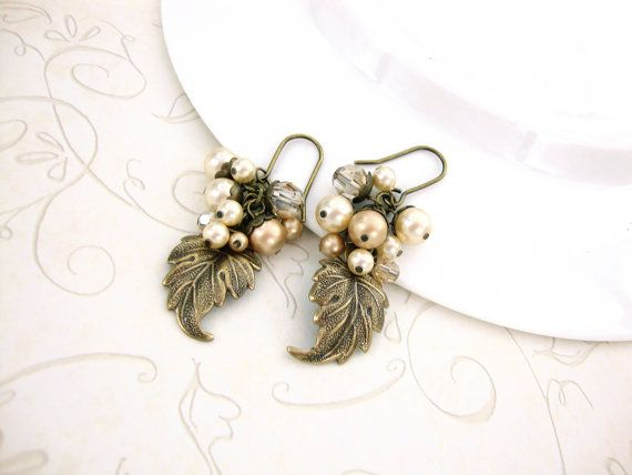 Golden Autumn Leaf Earrings  Swarovski Pearl by ArdentHearts