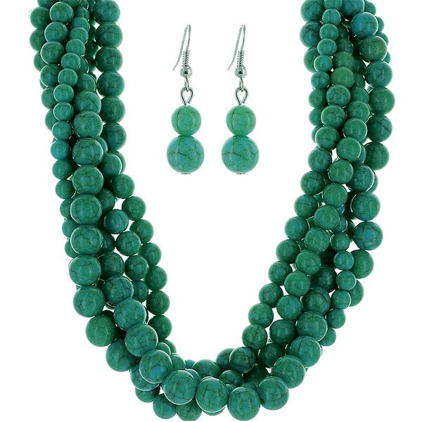 Tyler Rose Turquoise Beaded Multi-Strand Necklace & Drop Earrings ($20) ❤ liked on Polyvore featuring jewelry, chunky jewelry, beaded jewelry, beading jewelry, tyler rose swimwear and twist jewelry