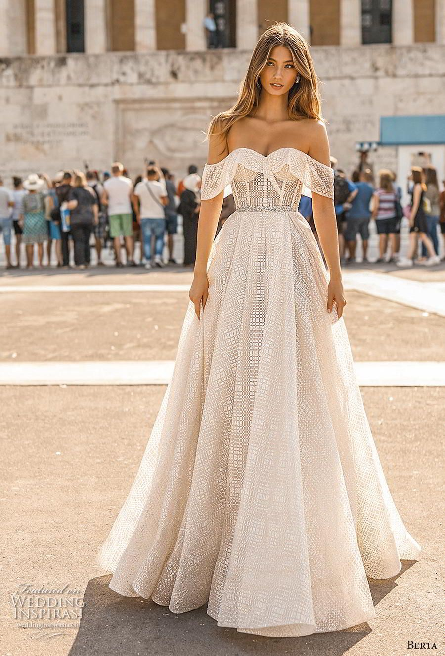2861f1e325 Weddinginspirasi.com featuring - berta fall 2019 bridal off the shoulder  sweetheart neckline full embellishment romantic a line wedding dress mid  back short ...