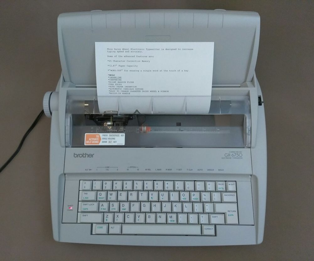Brother Daisy Wheel Electronic Typewriter GX-6750 New No Box | Typewriters  | Pinterest | Typewriter, Office equipment and Box