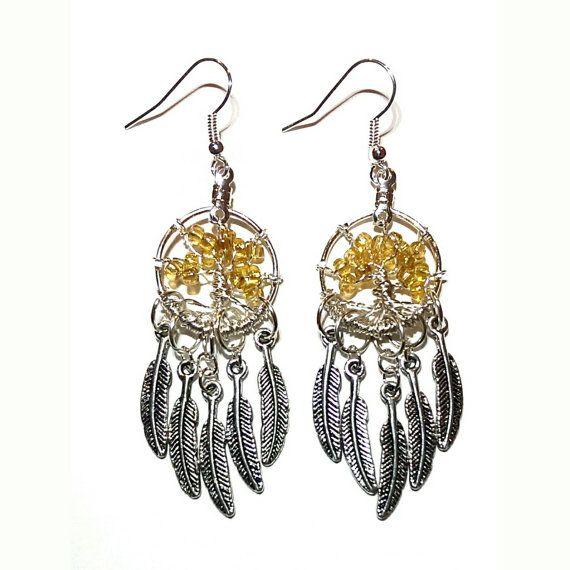 Yellow Bead Tree Feather Dreamcatcher Earrings