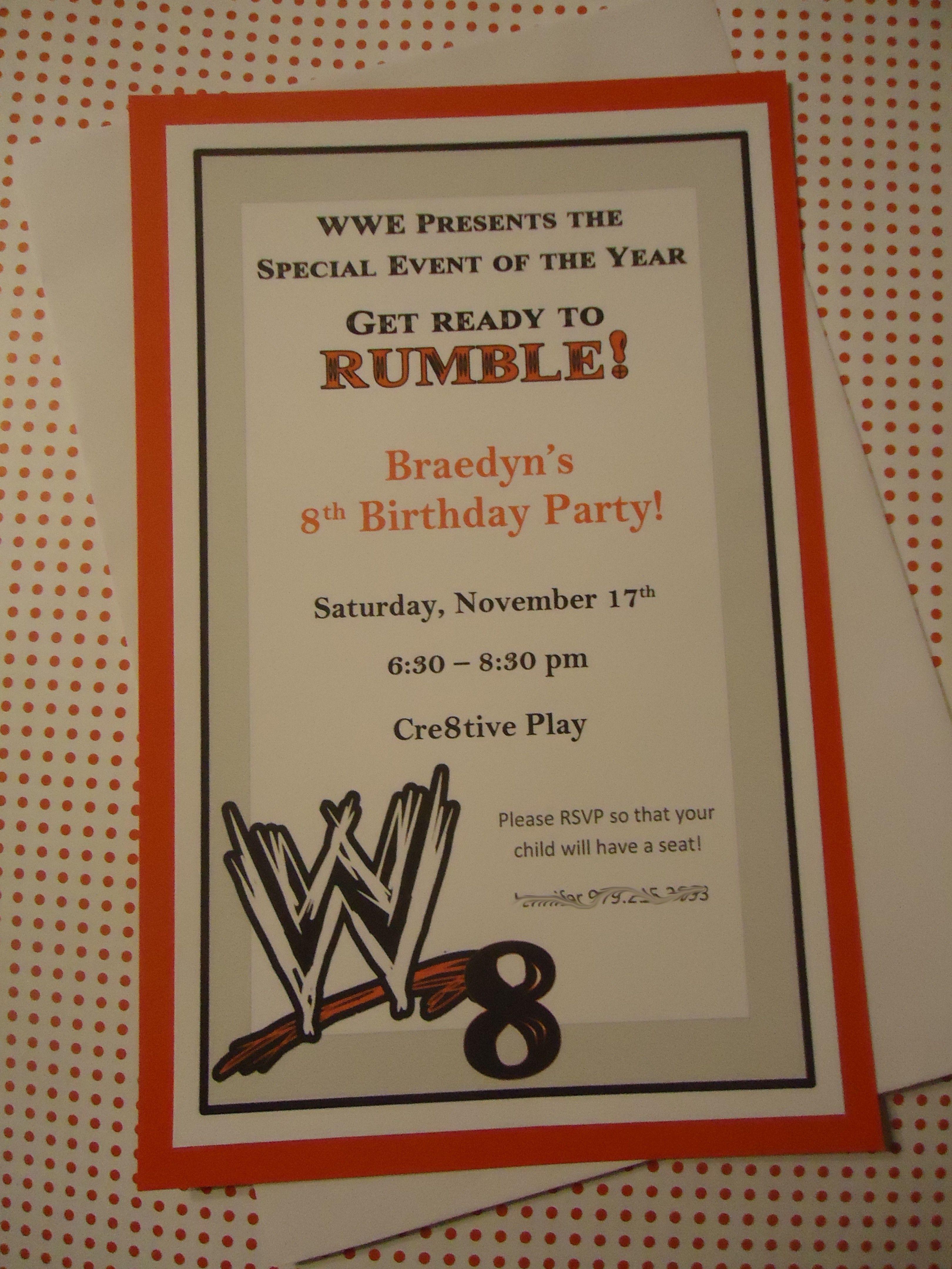 WWE Birthday Party invite