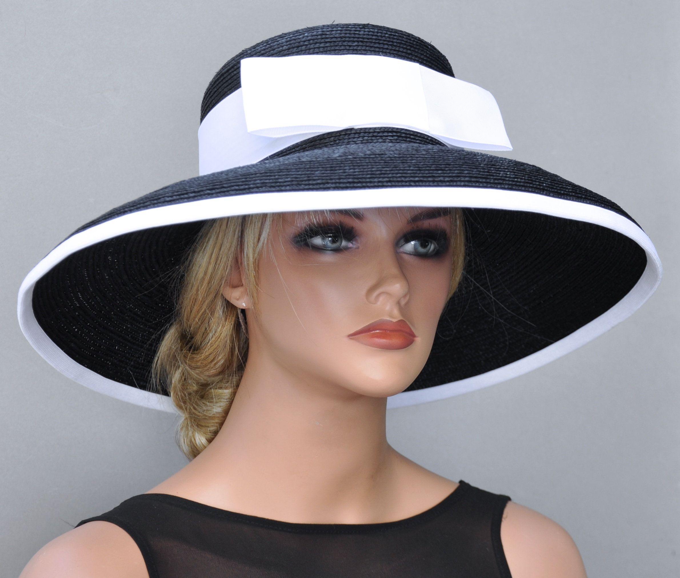 6cd1d71f610f2 Ladies Black or Navy Hat, Black & White Hat, Navy and White Hat, Wedding  Hat, Church Hat, Wide Brim Hat Audrey Hepburn Hat Formal Dressy Hat