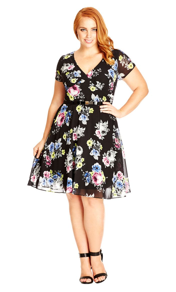 49dcd1bf40 City Chic Fluro Floral Dress - Women s Plus Size Fashion City Chic - City  Chic…