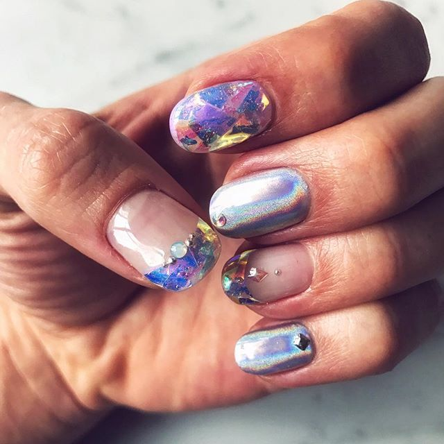 My new nails! A simple Iridescent/HOLO look! credit: Joey Graceffa ...