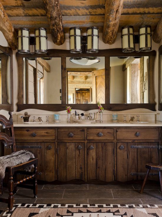 Village style ranch house interior design ideas exciting bathroom wooden vanity tile floor montana gozetta villa inspiration also rh nz pinterest