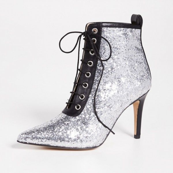 3d900798d94 Silver Glitter Pointy Toe Stiletto Boots Lace up Ankle Booties for Work