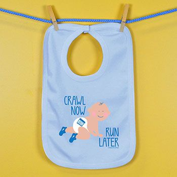 Baby Bib Crawl Now Run Later | Running Baby Bibs | Running Baby Clothing