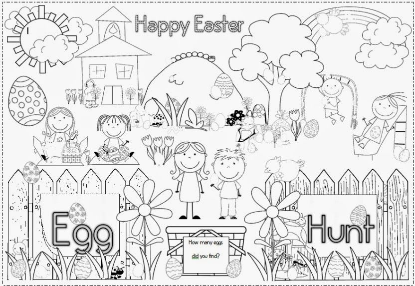 Easter Egg Hunt Coloring Pages Easter Coloring Pages Easter Art Coloring Pages