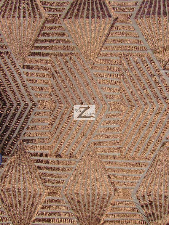 in BRONZE!!!  Kosmische Mini Disc geometrische Sequin Netzmaterial von BigZFabric