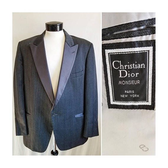 a5b4d87fdf6 Christian Dior Monsieur Charcoal Grey Pinstripe Suit Jacket Blazer ...
