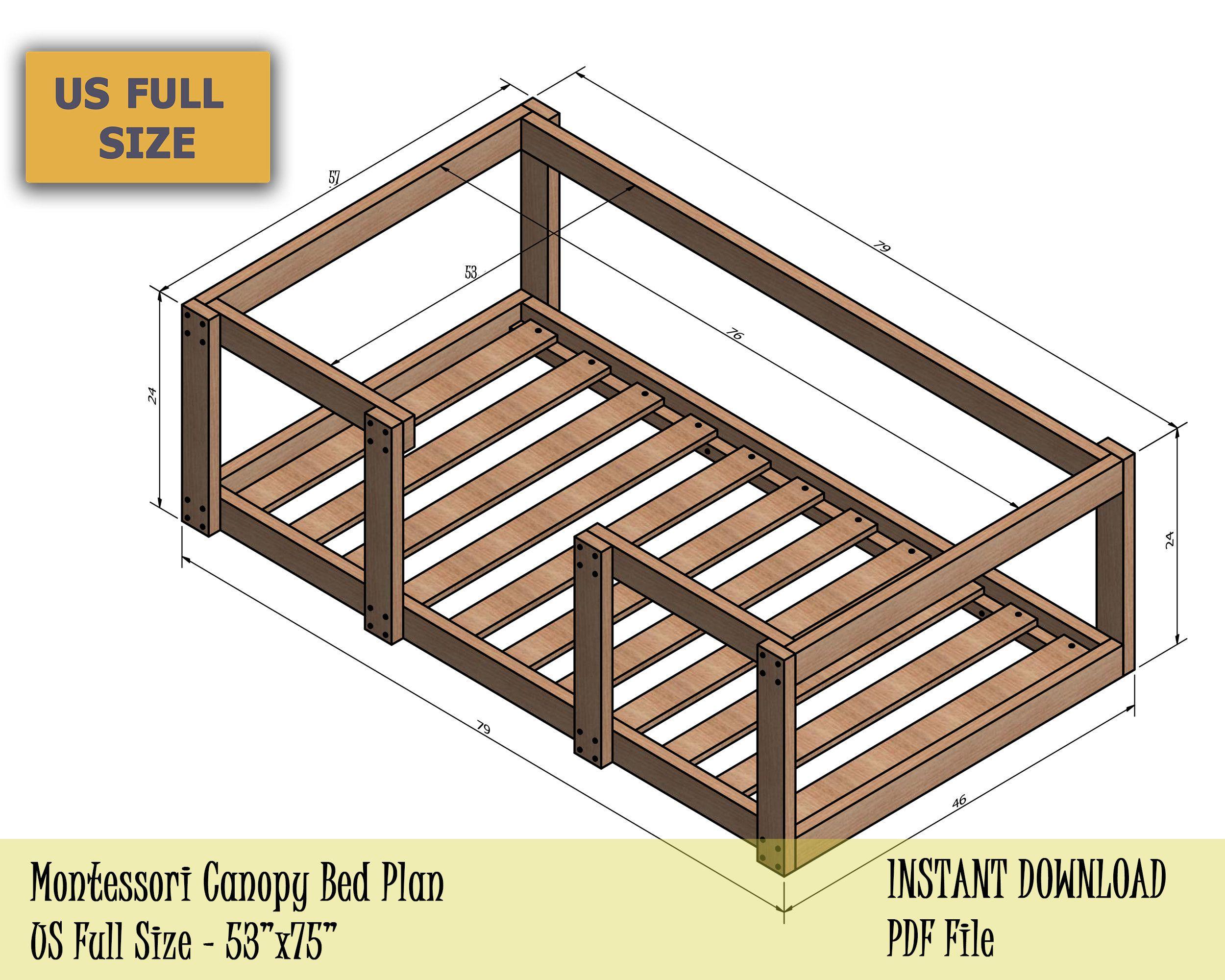 Montessori Bed Canopy Bed Plan Full Bed Frame Diy Toddler Etsy Loft Bed Plans Full Bed Frame Toddler Floor Bed