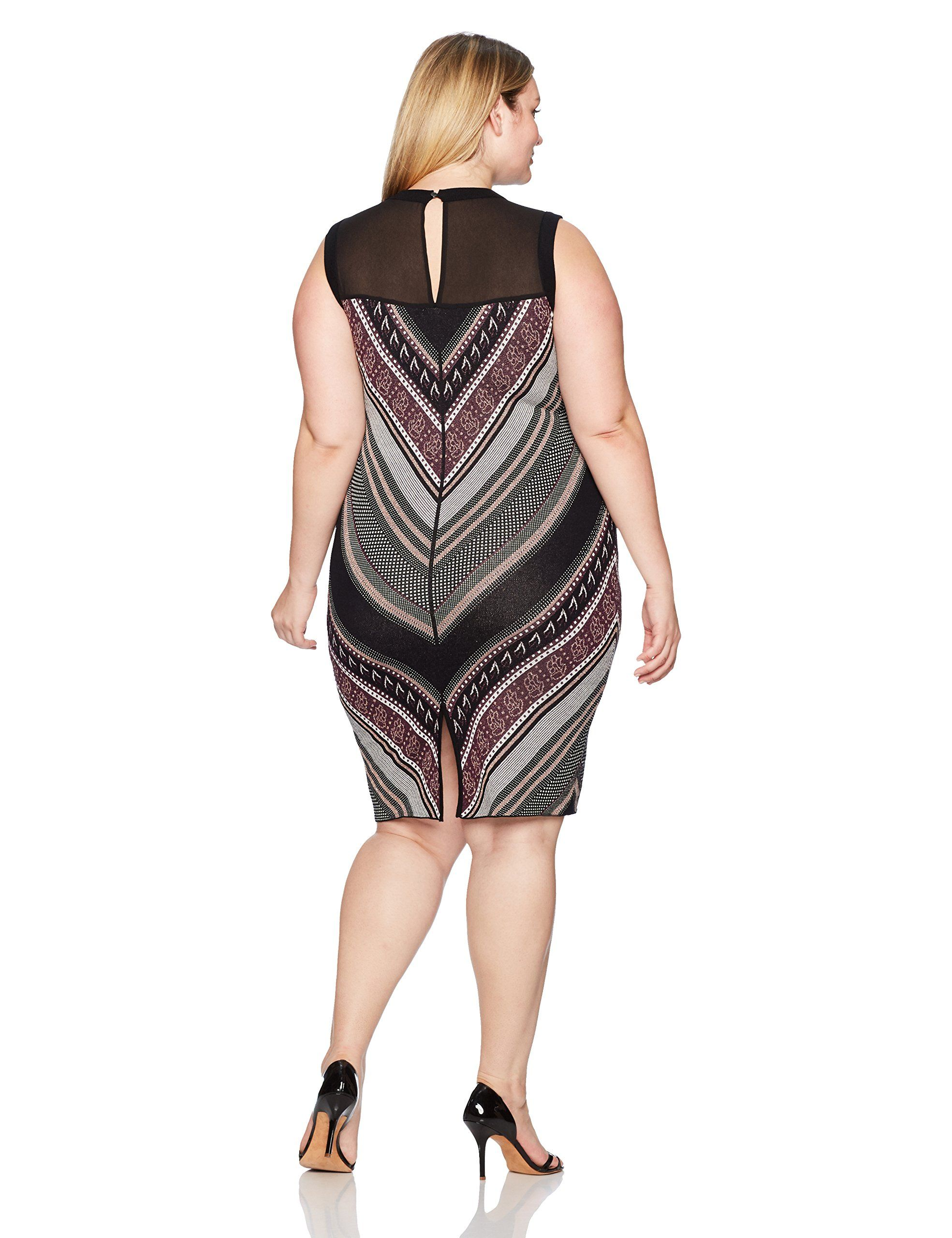 ded057894b0 RACHEL Rachel Roy Womens Plus Size Lurex Chevron Sweater Dress Rioja Combo  2X    For more information