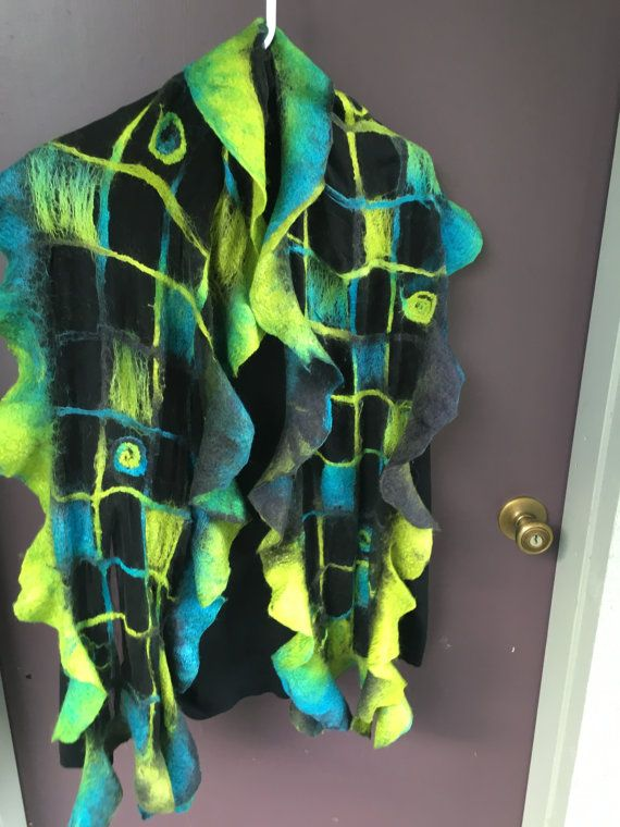 Torquoise and lime green NUNO felted scarf от FabulousFiberworks