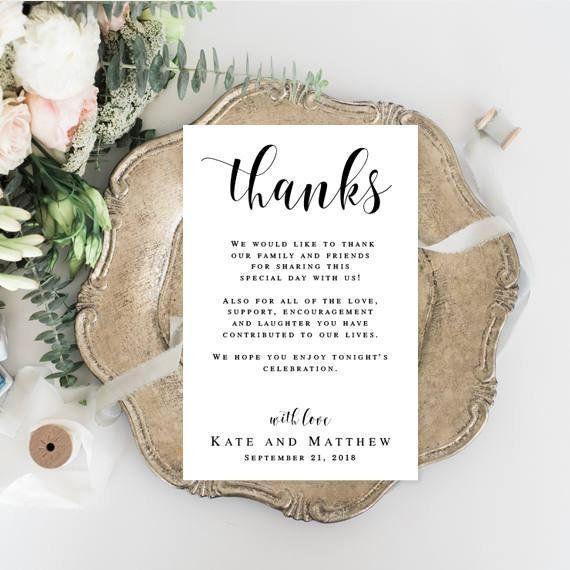 Wedding Thank You Card Template Editable Thank You Card Printable