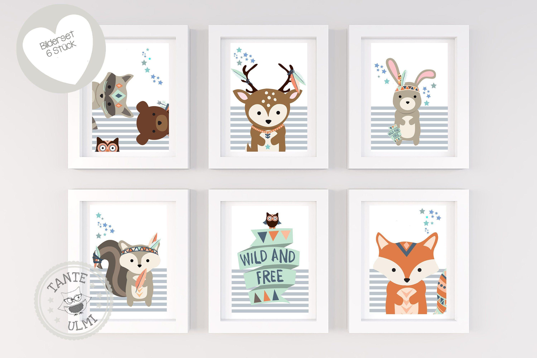 Bilder Kinderzimmer 6 Stück Print A4 Waldtiere mit Namen