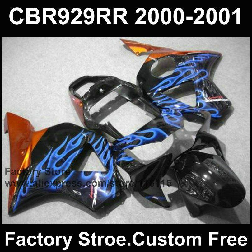 Custom Motorcycle Fairings Kit For HONDA 2000 2001 CBR929RR CBR 929RR 00 01 900RR Fireblade Blue Flame Body Parts Affiliate