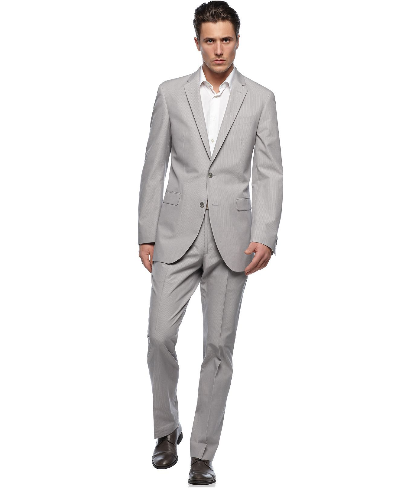 Kenneth Cole Grey Suit Love The Grey Goes With Black Or Brown Shoes And Just About Any Color Shirt T Mens Dress Outfits Slim Fit Blazers Mens Fashion Suits [ 1616 x 1320 Pixel ]