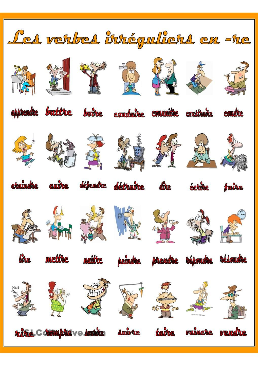 Les Verbes Irreguliers En Re French Grammar French Verbs Teaching French